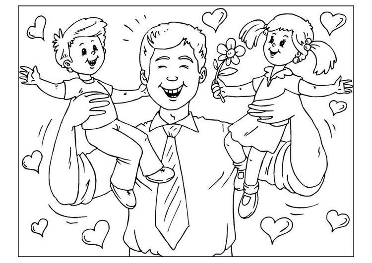 Dibujo para colorear día del padre | Clase Biblica Para Niños ...