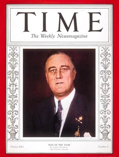1933: TIME names U.S. President-elect Franklin Delano Roosevelt its Man of the Year. Roosevelt is the first U.S. president to be chosen for the title.
