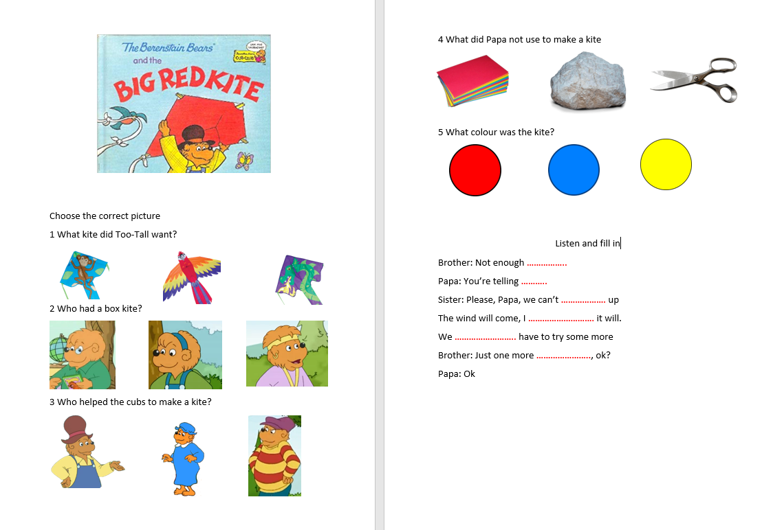 The Berenstain Bears And The Big Red Kite Worksheet