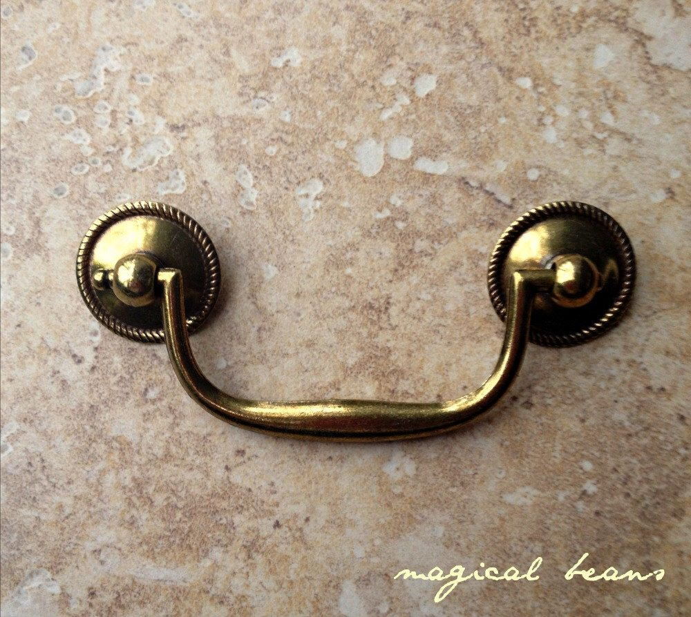 Gold Pull Drop Pail Pull With Beaded Rosettes By Keeler Brass Co Gold Pull Solid Brass Handles For F Dresser Drawer Pulls Brass Handles Antique Drawers
