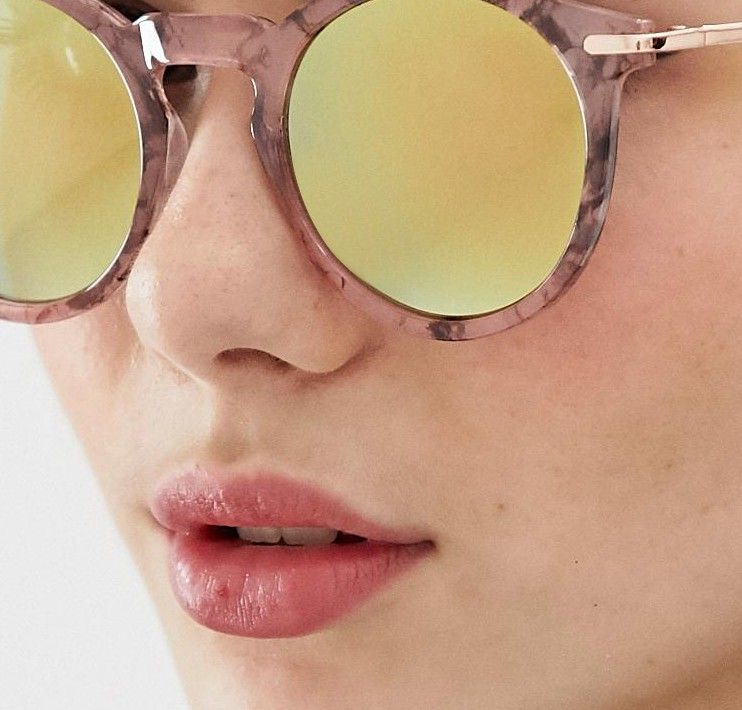 2fa0a081d04c6 ASOS DESIGN round sunglasses with metal arms and flash lens in pink marble