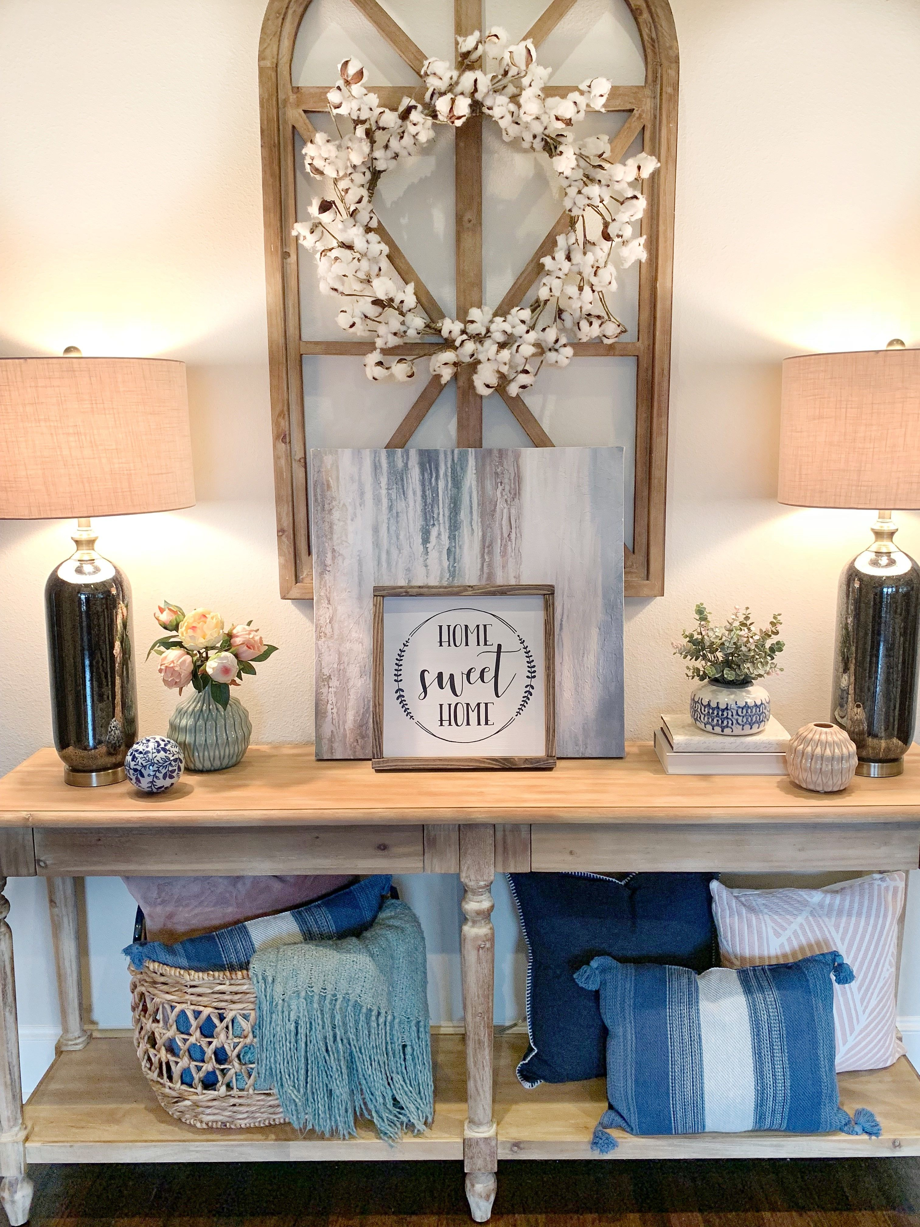 Style Your Entryway Table With Home Decor Pieces You Love And Lamps That Light The Way Thanks For The Inspo Stager Roz With Images Kirkland Home Decor Home Decor