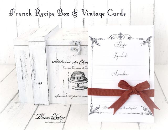 Dreams Factory: French inspired gifts for Christmas: French Recipe Box & Vintage Cards ♦ Cutia frantuzeasca pentru retete & carduri vintage pentru retete