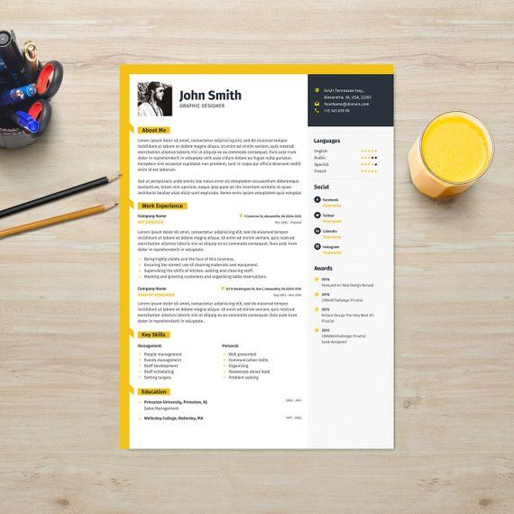 Resume Template With Photo CV Cover Letter