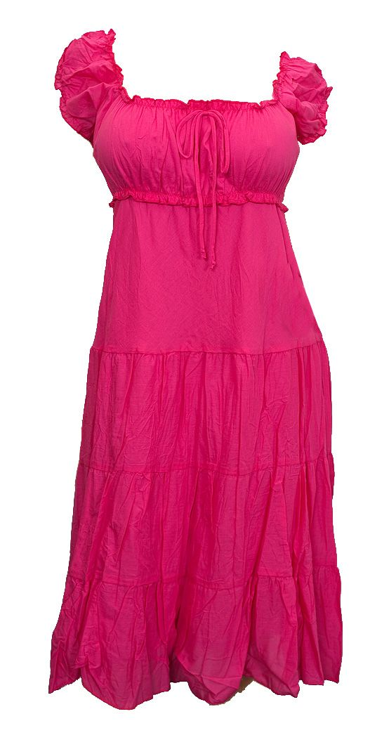 6e29dbff647f Pink Cotton Empire Waist Plus Size SunDress