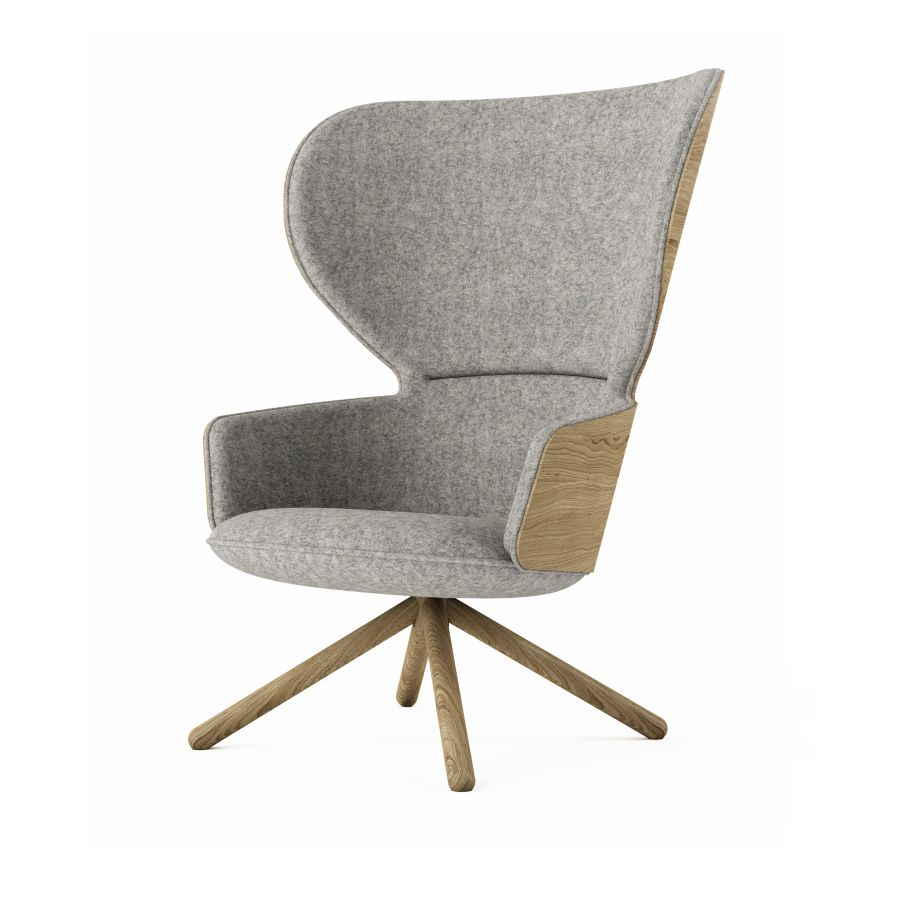 Hygge high back lounge chair with fixed broomstick base, SHG4