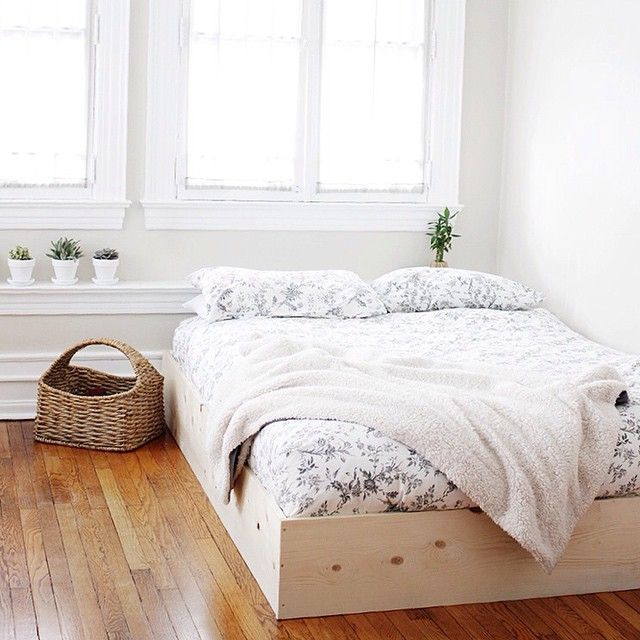 a minimal bed frame to hide that box spring and it only takes ten minutes - Minimal Bed Frame