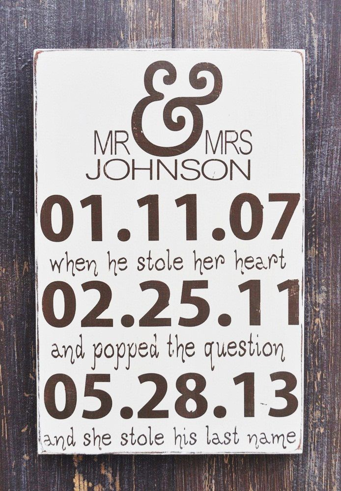Personalized Engagement Gift Wedding Present Bridal Shower Custom Wood