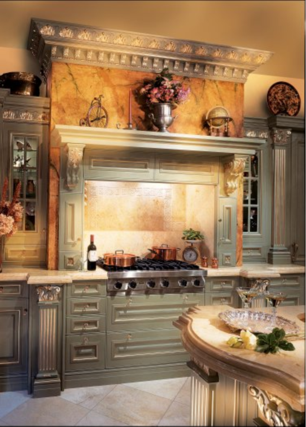 10 Kitchen And Home Decor Items Every 20 Something Needs: Gorgeous Tuscan Kitchen. Love The Marble Header Over The
