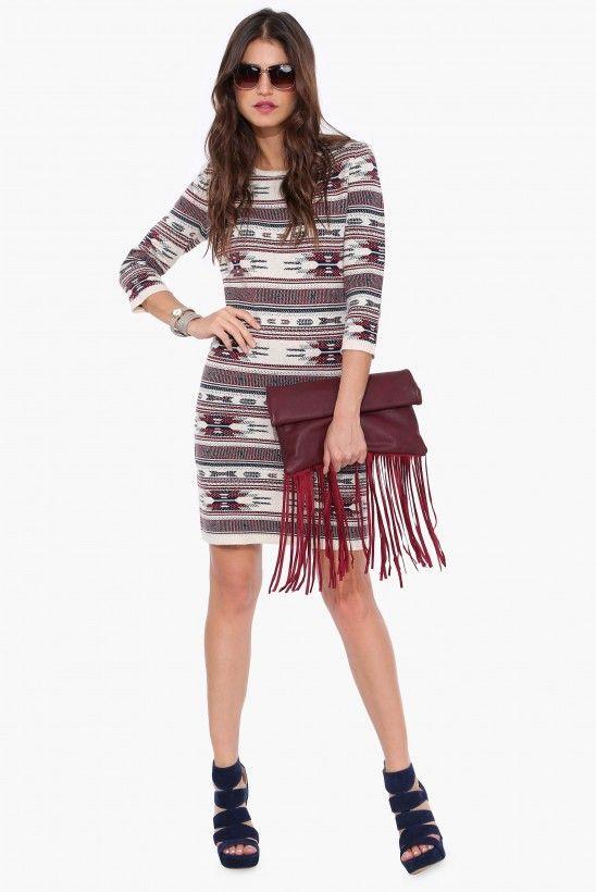 Akeelah Sweater Dress in Burgundy   Necessary Clothing