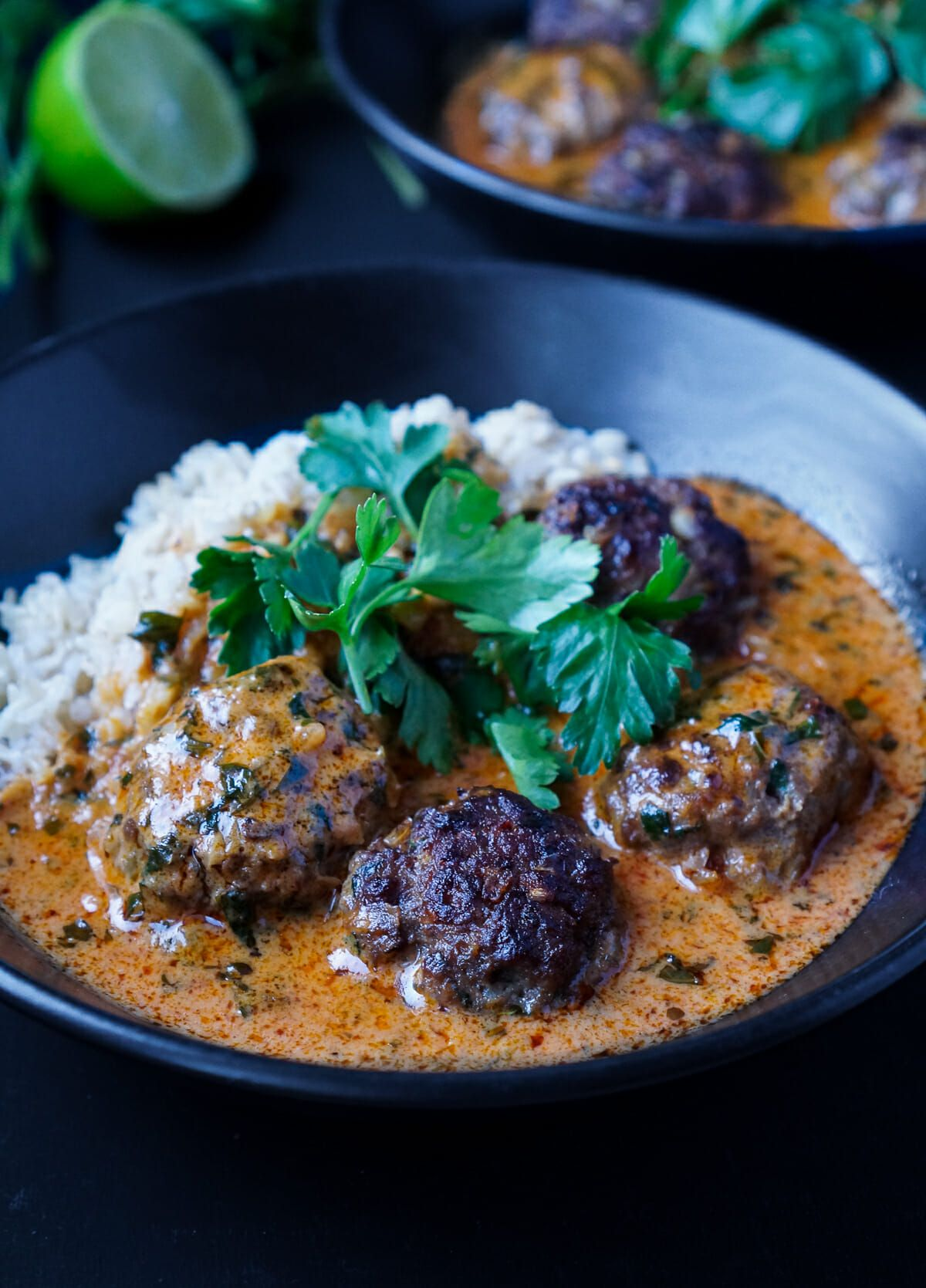 Photo of Red Thai curry with hot meatballs and whole grain rice
