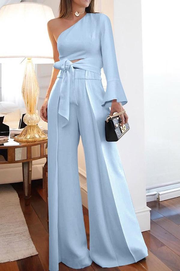 Plus Size Full Length Plain Lace-Up Slim Women's J