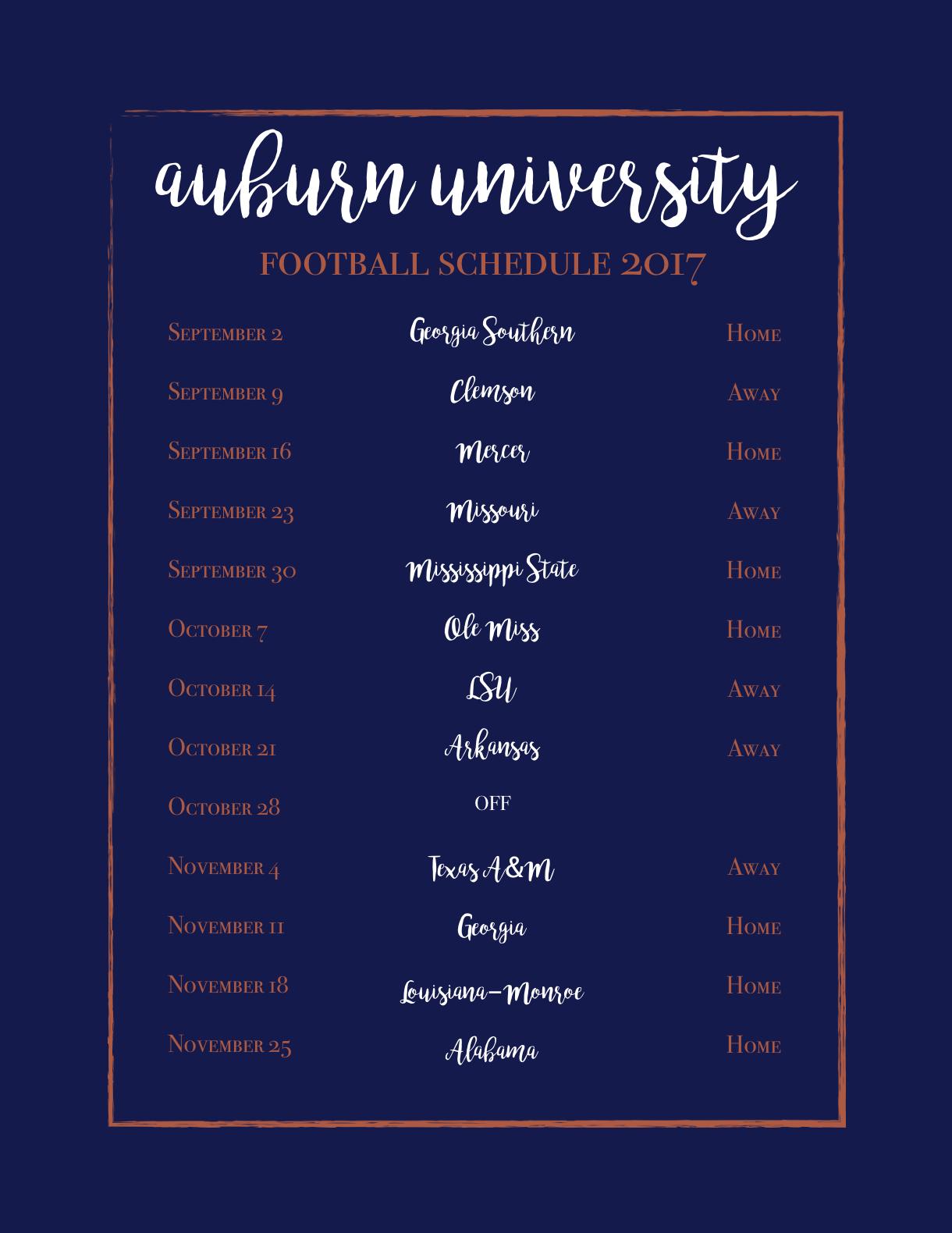 Auburn University Football Schedule 2017 | Auburn | Auburn