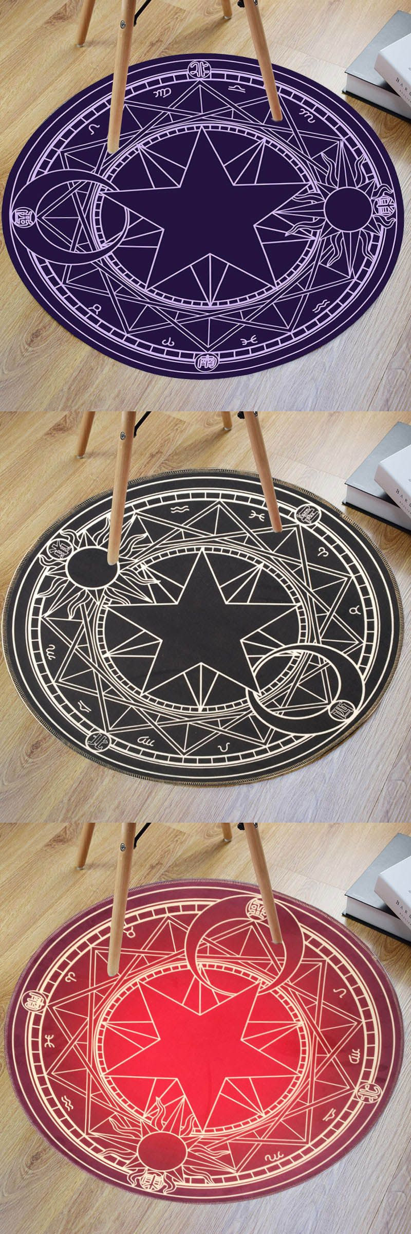$10.26,Crystal Velvet Fabric Magic Circle Round Bath Rug