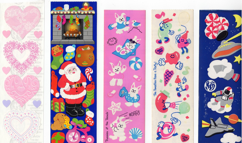 1 Strip Mrs Grossman`s SANTA 1992 with Toy Bag VINTAGE Rare Stickers