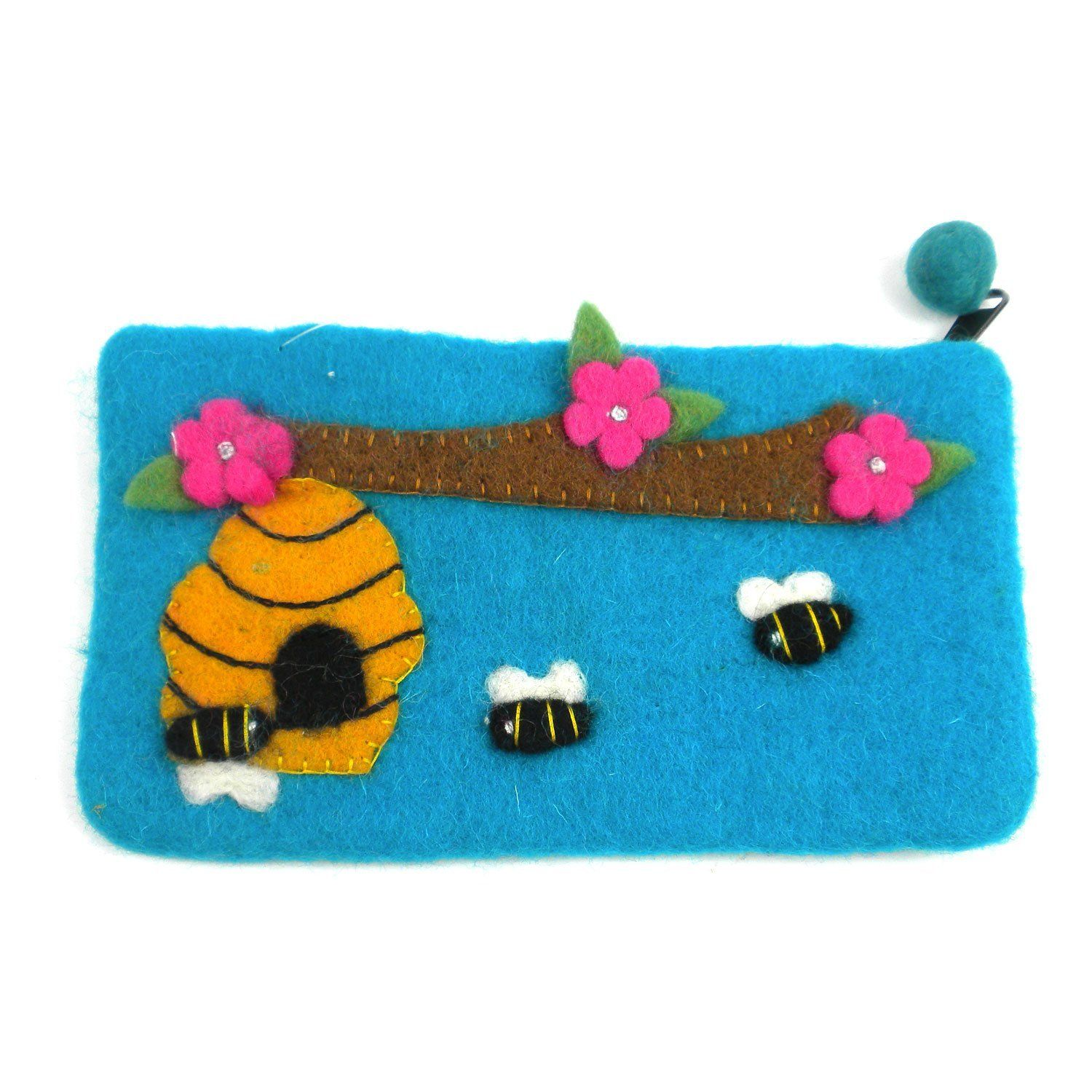 Global Groove P Global Craft Handmade Felt Blue Owl Clutch