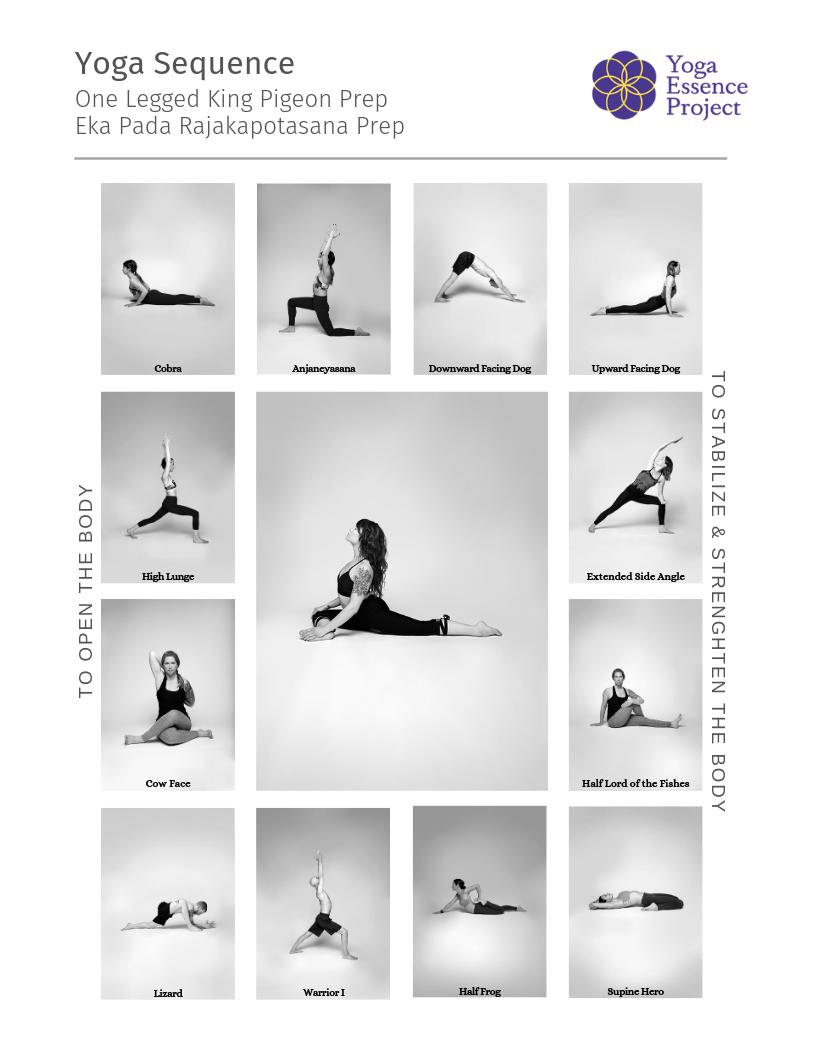 Pigeon Prep Yoga Sequence  Yoga sequences, Yoga class plan, Yoga