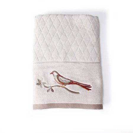 Better Homes And Gardens Song Bird Jacquard Bath Towel Collection, White