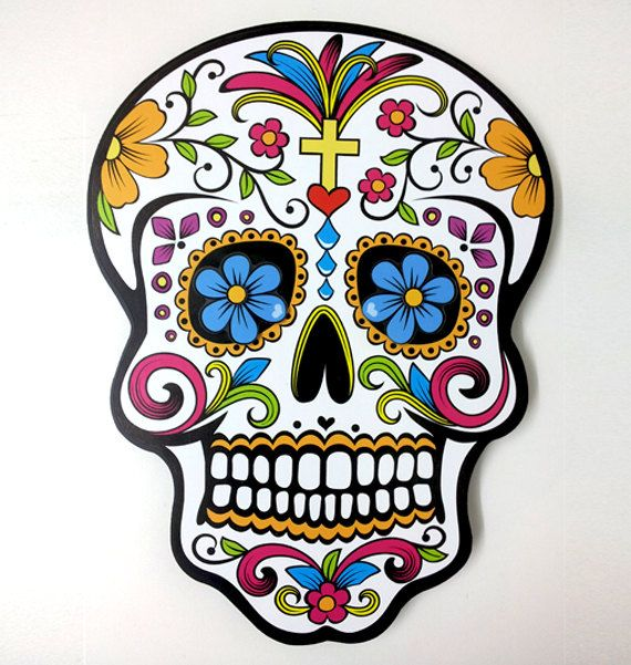 Aufkleber Dia de los muertos Day of the Dead Sticker Sugar Skull 46-12 cm