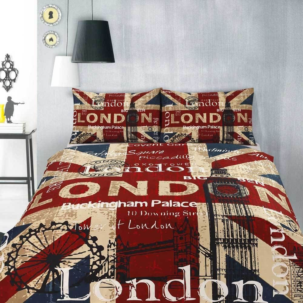 Retro London Uk British Flag Quilt Doona Cover Set Single Double Queen King