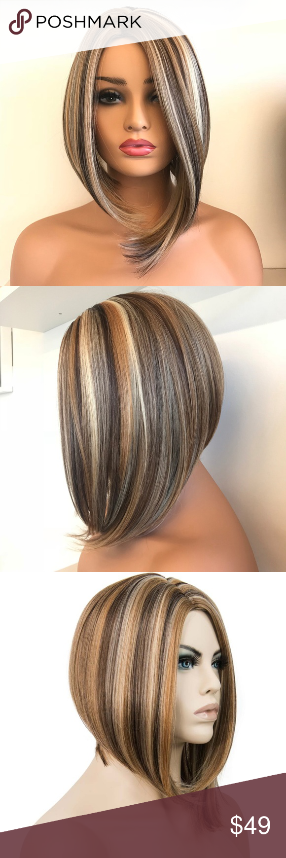 """10"""" Short Bob Mix Blonde Side Part Wig"""