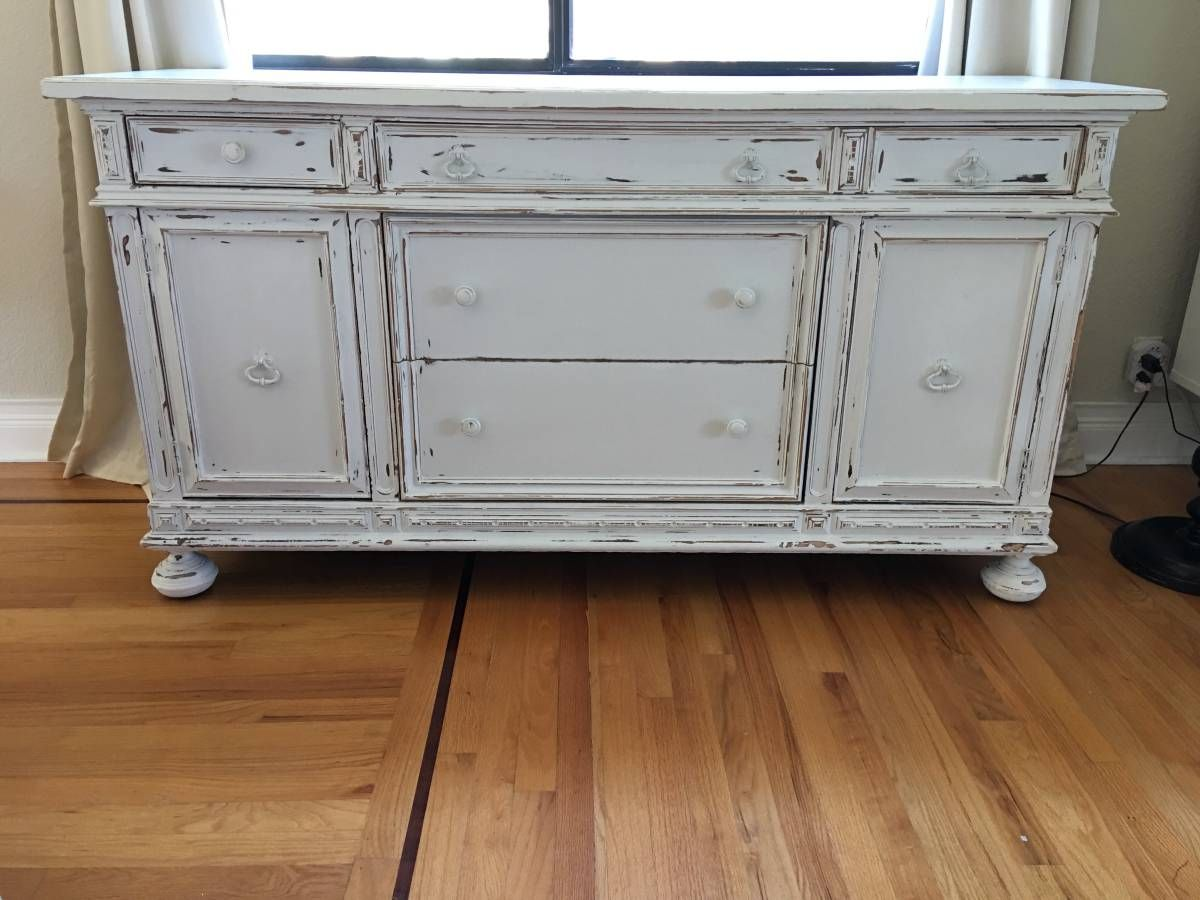 Antique buffet now shabby farmhouse style white home