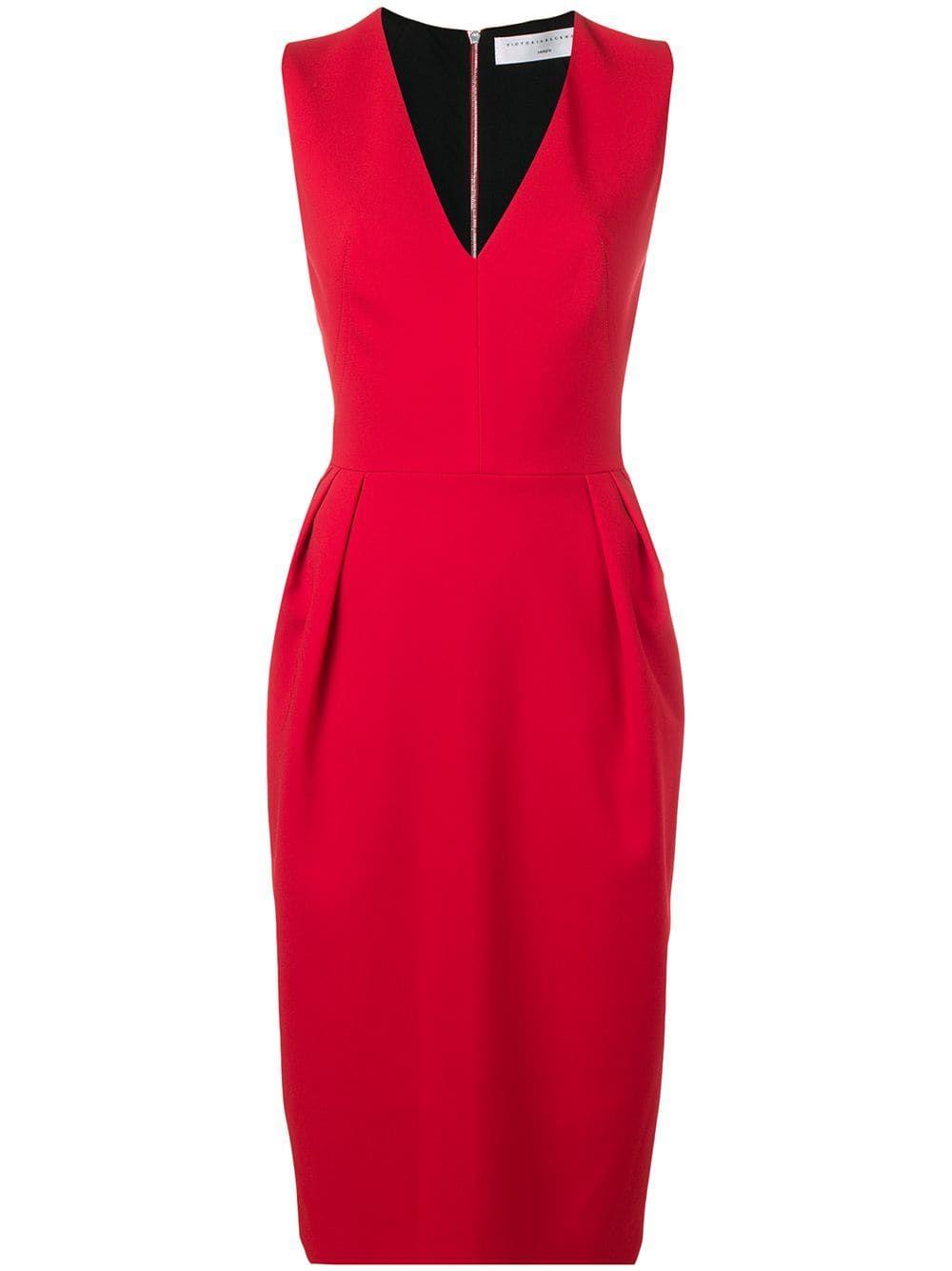 Victoria Beckham Sleeveless V Neck Sheath Dress In Red Modesens Victoria Beckham Dress Dresses Victoria Beckham [ 1334 x 1000 Pixel ]