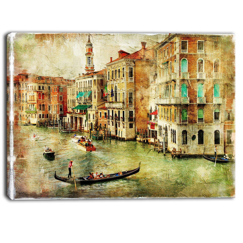 Vintage Venice Digital Landscape Graphic Art on Wrapped Canvas ...