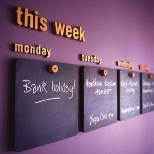 Love This Weekly Calendar Idea. Wood Panels Covered With Chalkboard Paint.  Could Do This On The Wall Across From Laundry Room Good Looking