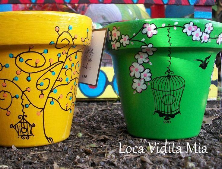 Macetas pintadas 3 painted clay pots pinterest clay - Decoracion con macetas ...