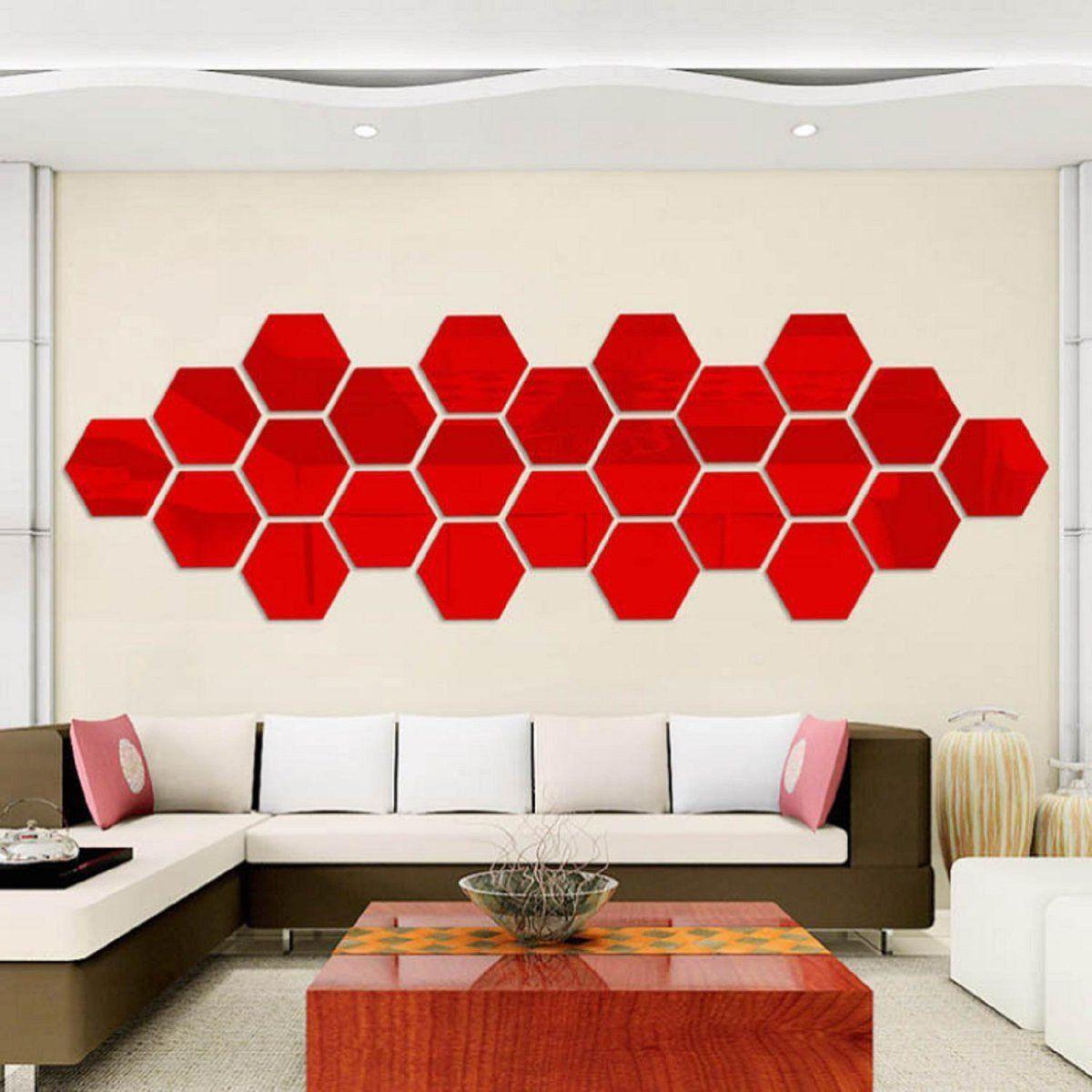 Diy d home mirror hexagon vinyl removable wall sticker decal art
