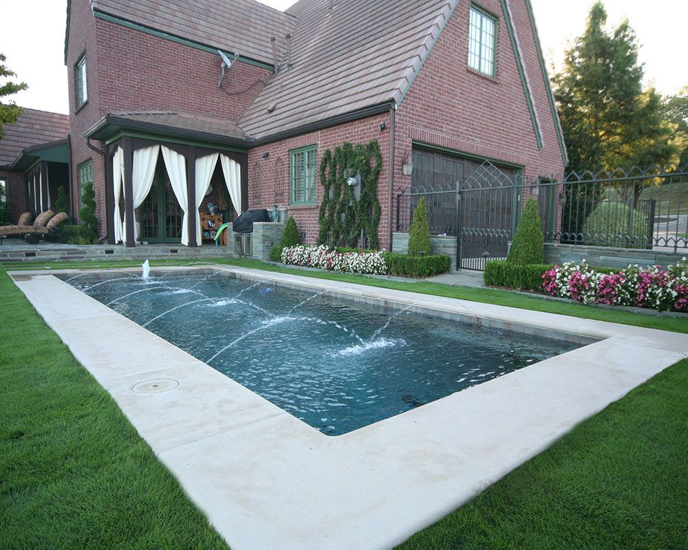 Traditional Pool; Leuders Coping, Bubbler Fountain, In