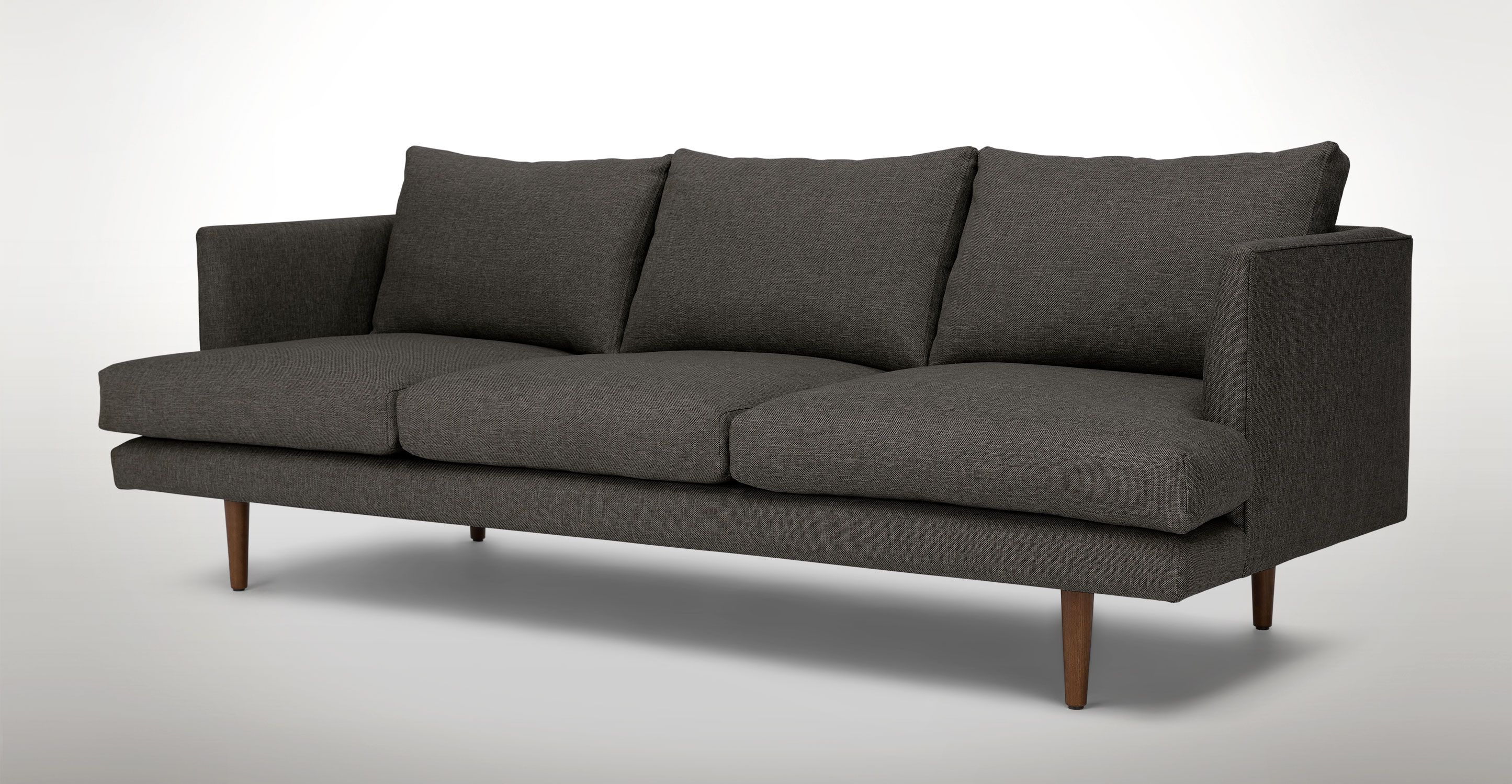 Dark Gray Sofa 3 Seater Solid Wood Legs