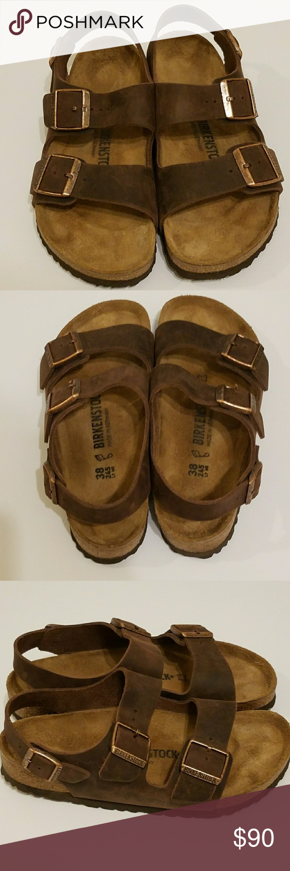 590bfe692bd0 Like New Birkenstock Milano Leather Sandals 38 Like New Birkenstock Milano  Slingback Habana Brown Oiled Leather Sandals. Size 38. Birkenstock Shoes  Sandals