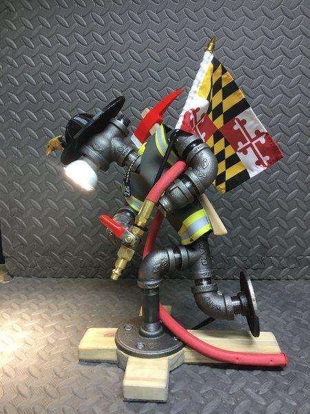 Fire Fighter Desk Lamp Steam Punk Sportz Pipe Lamp