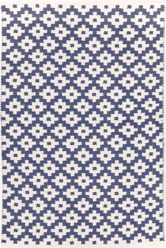 RugStudio presents Dash And Albert Samode 92383 Denim/Ivory Flat-Woven Area Rug