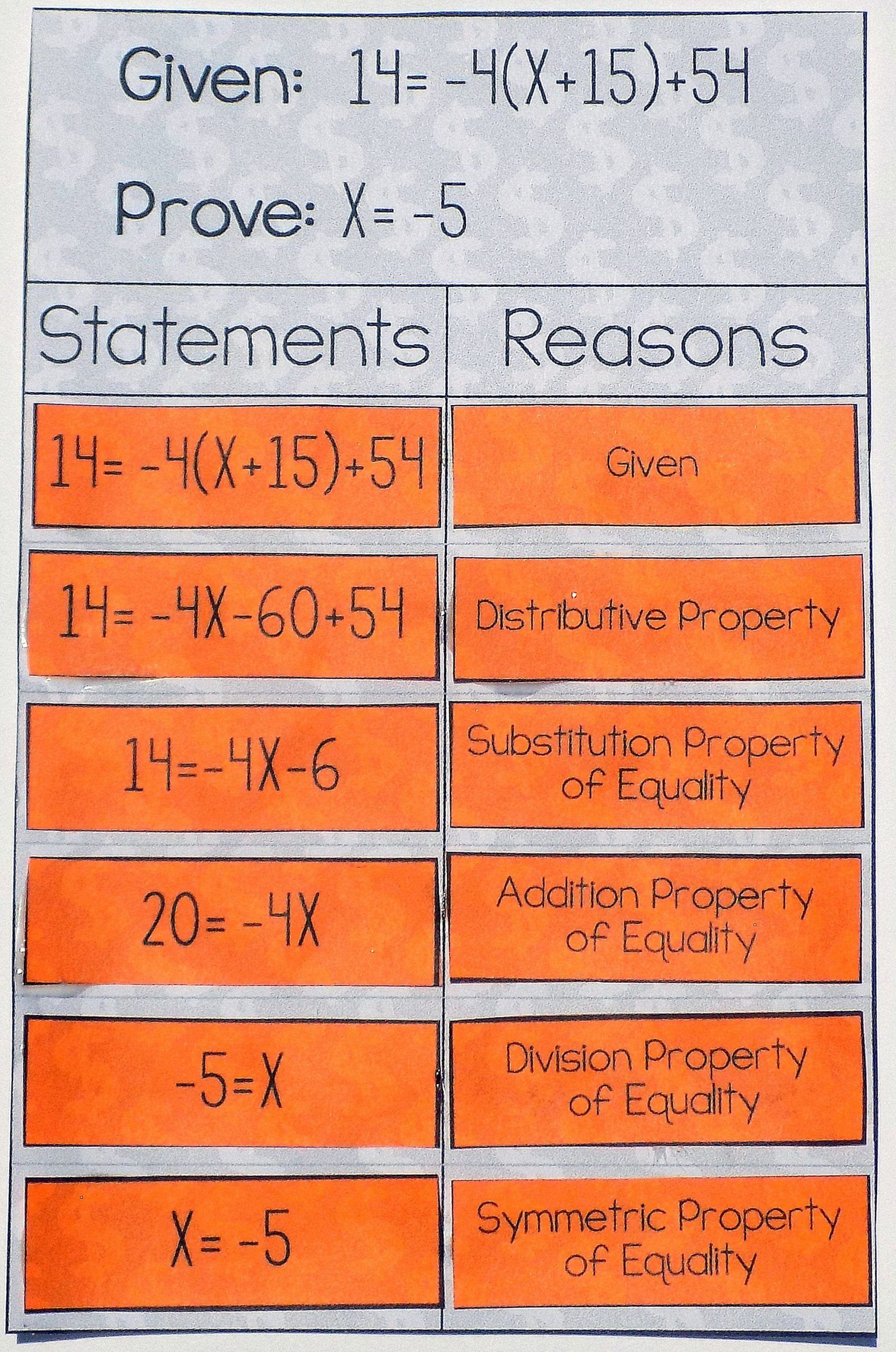 Algebraic Proofs Worksheet With Answers Algebraic Proof Activity High School Geometry Proofs In 2020 Geometry Proofs Algebraic Proof Letter Worksheets For Preschool