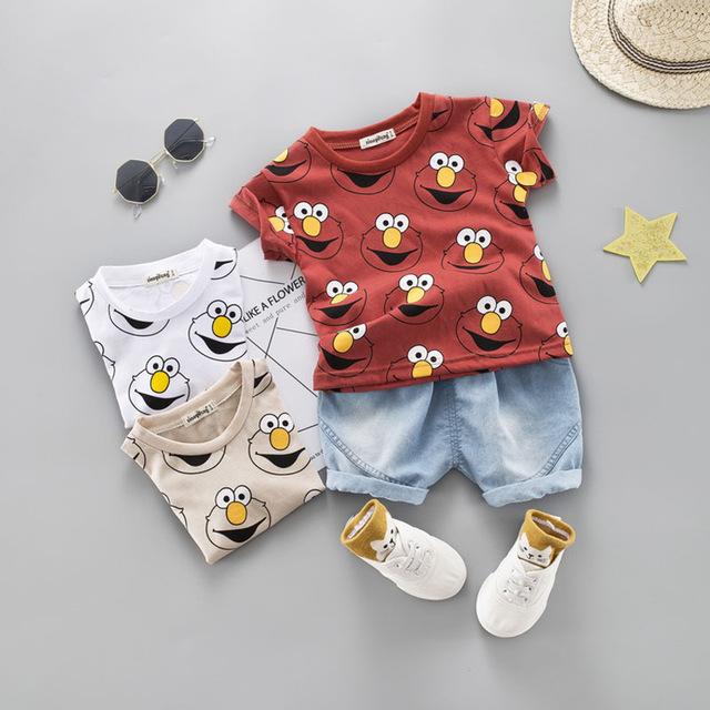 Children Toddler Kids Baby Boy Girl 3D Cartoon Tops T-shirt Shorts Outfits Set