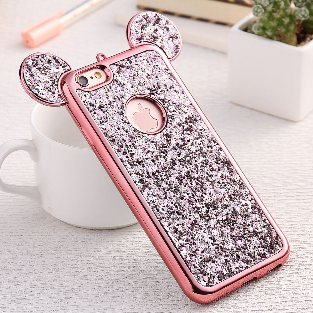 Kisscase Phone Case For Iphone 7 6 6s Plus 5 5s Se Cute Girly 3d Mickey Ear Cases For Iphone X 10 Bling Glitter Cover Shell Capa Cellphones & Telecommunications