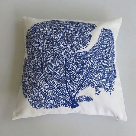 White Throw Pillow With Royal L Fan Embroidery Coral Pillows White Pillow Covers White Throw Pillows