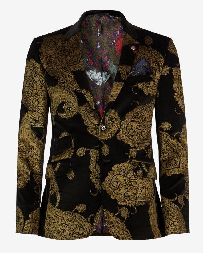 15d9f4c24 Deluxe paisley velvet jacket - Black