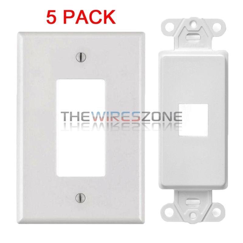 White 1 Port Decora Keystone Snap In Jack Modular Wall Insert Cover Plate 5 Pk 741725934446 Ebay Modular Walls Plates On Wall Decora