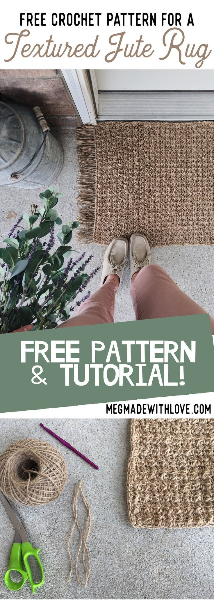 Modèle de crochet gratuit pour un tapis de jute texturé – Megmade with Love   – Sew, Knit & Crochet
