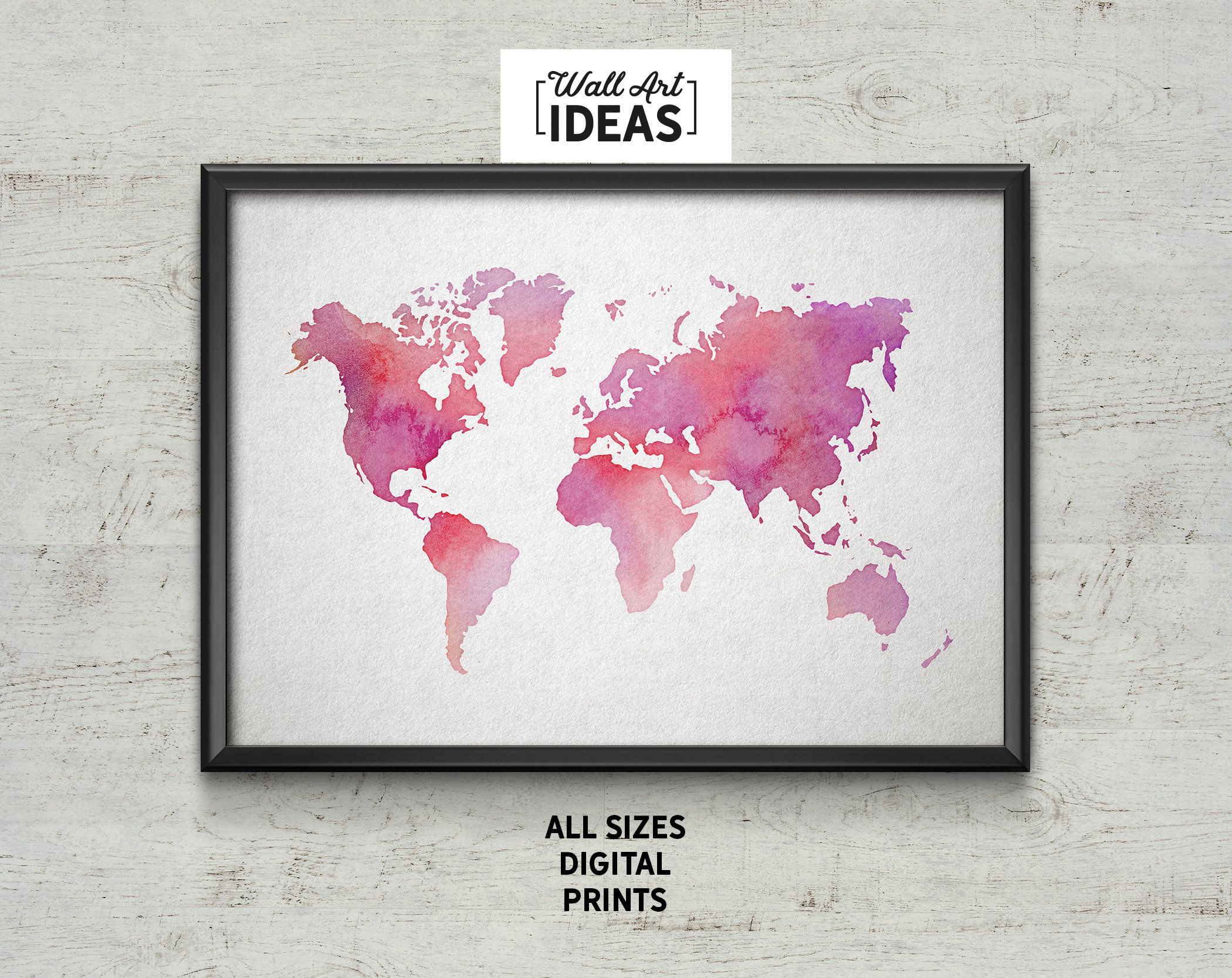 Watercolor World Map Wall Art Poster Digital Prints Images - A1 world map poster