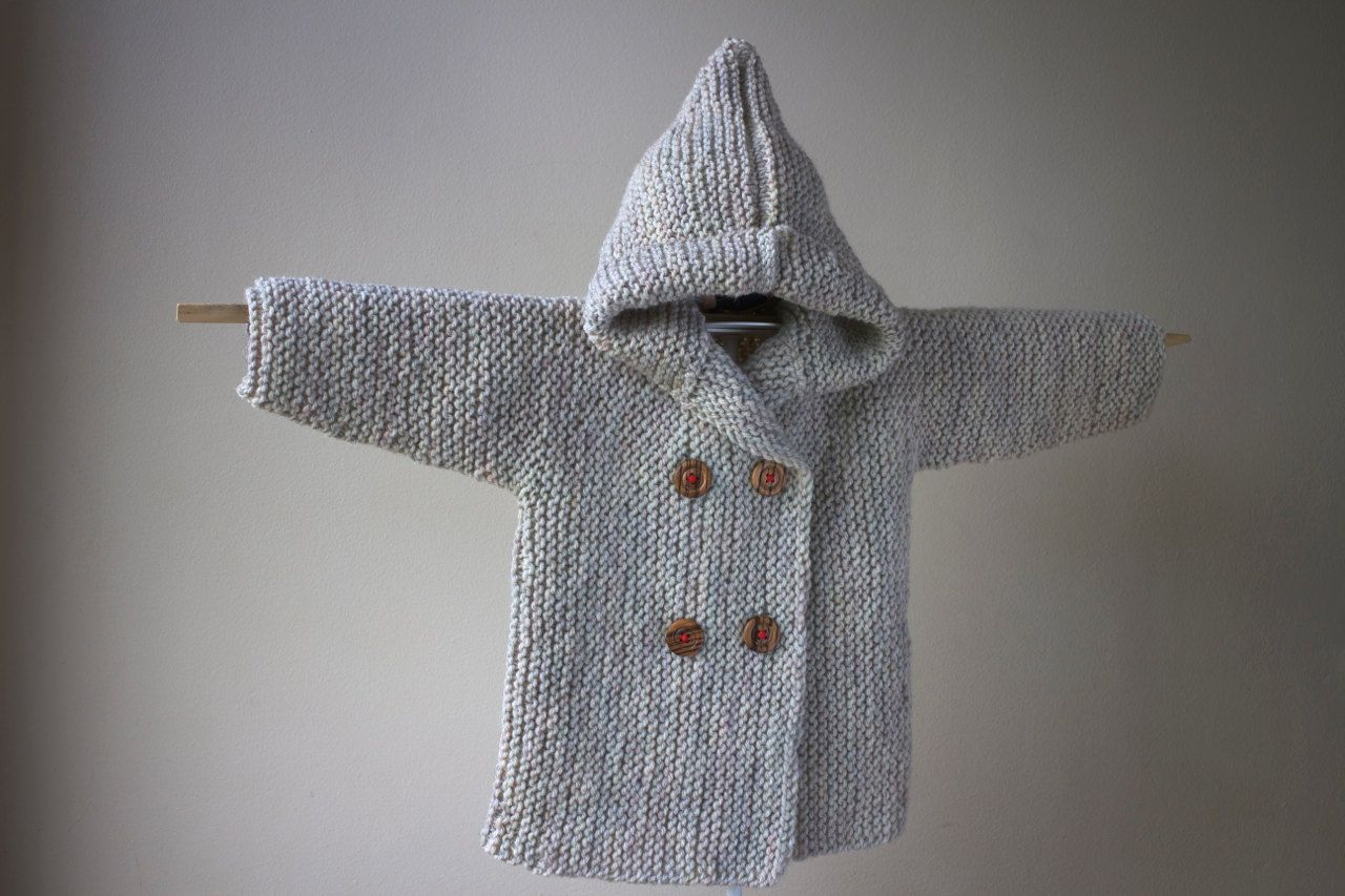 Hand Knitted Baby Hoodie / Hoodie with Pixie Hood / Hand Knit Baby Peacoat / Hand Knit Baby Cardigan / Hand Knit Baby Jacket - Ready to Ship by RocoKnitwearIreland on Etsy