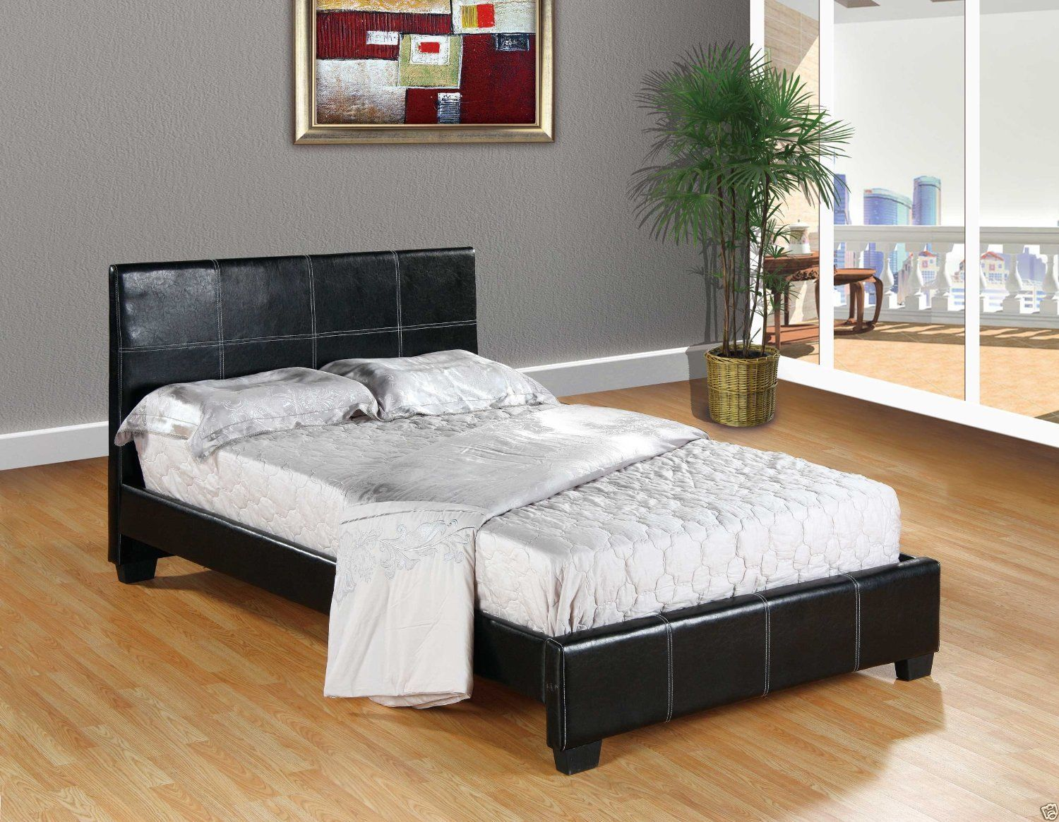 Beds and Bed Frames 175758: Black Faux Leather Queen Size Platform Bed Frame And Slats Modern Home Bedroom New -> BUY IT NOW ONLY: $164 on eBay!