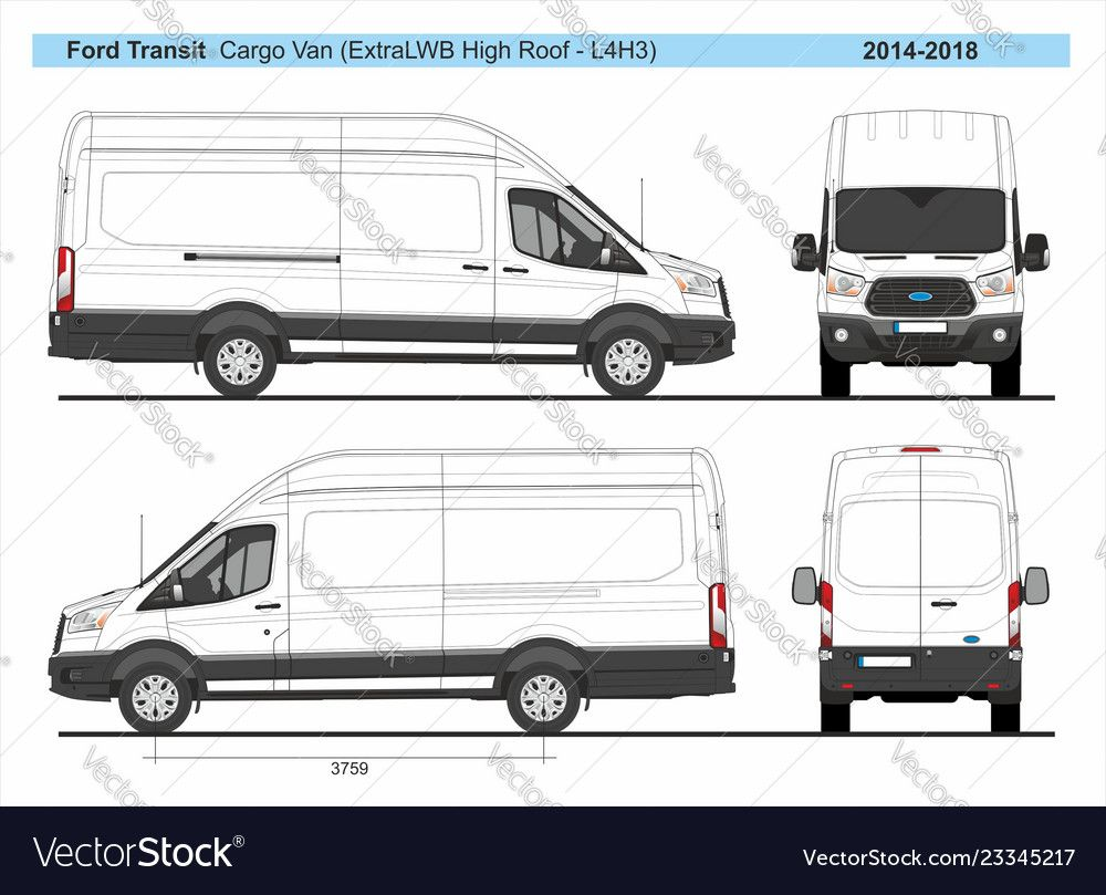 Ford Transit Cargo Delivery Van L4h3 2014 2018 Detailed Template For Design And Production Of Vehicle Wraps Scale 1 To 10 Ford Transit Van Lifted Ford Trucks