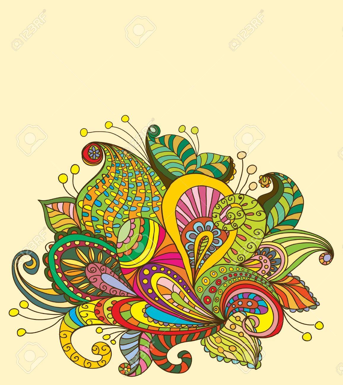 Colored Flower Doodles Doodle Color Floral Background ...