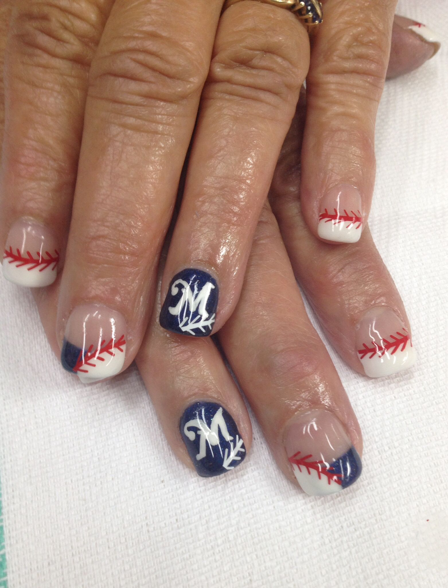 Baseball Nails Hand Painted Brewer Logo & Thread Stickers. French Gel