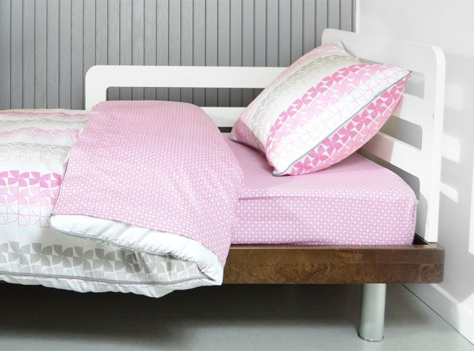 Modern Toddler Bedding Set In Pink And Grey Toddler Bed Bed
